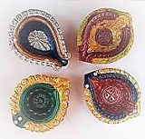 Decorative Clay Diyas 1 Pcs
